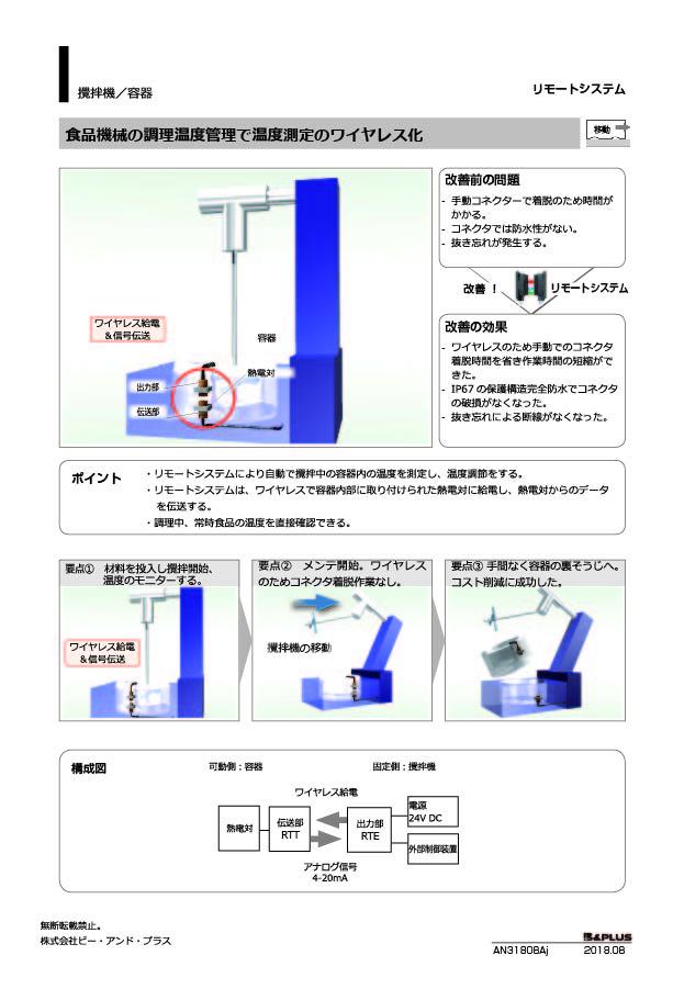 移動/食品攪拌機の調理温度管理