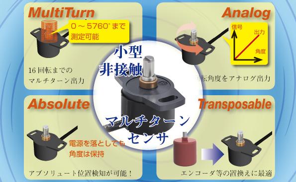 内部非接触で寿命なし!最大5760°まで測定可能な多回転角度センサ!