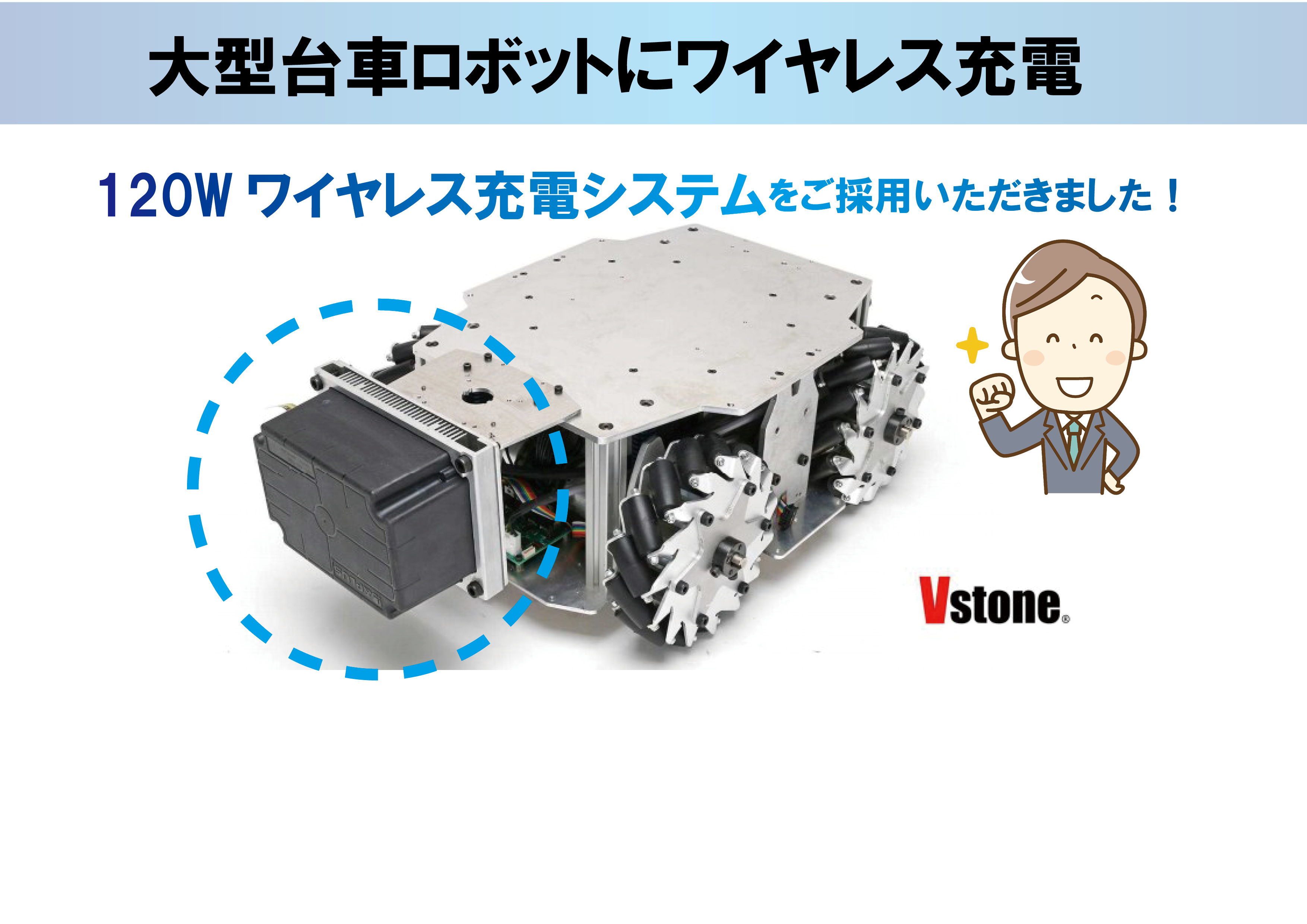 [Introduction example] 120W wireless charging system has been adopted for large trolley robots of Vstone Co., Ltd.
