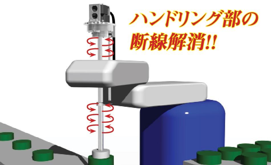スカラロボットに採用!ぐるぐる回るロボットハンドリング部の断線解消に!